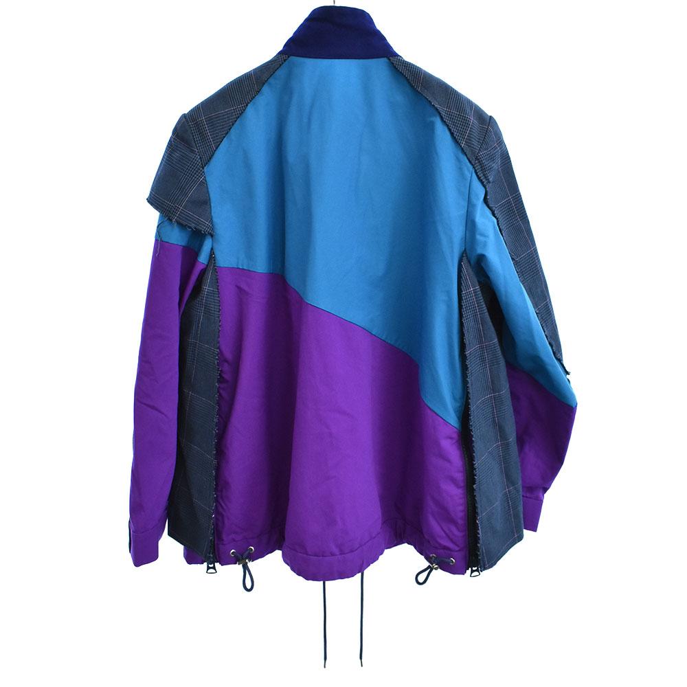 ナイロン変形切り替えジャケット グレンチェック柄