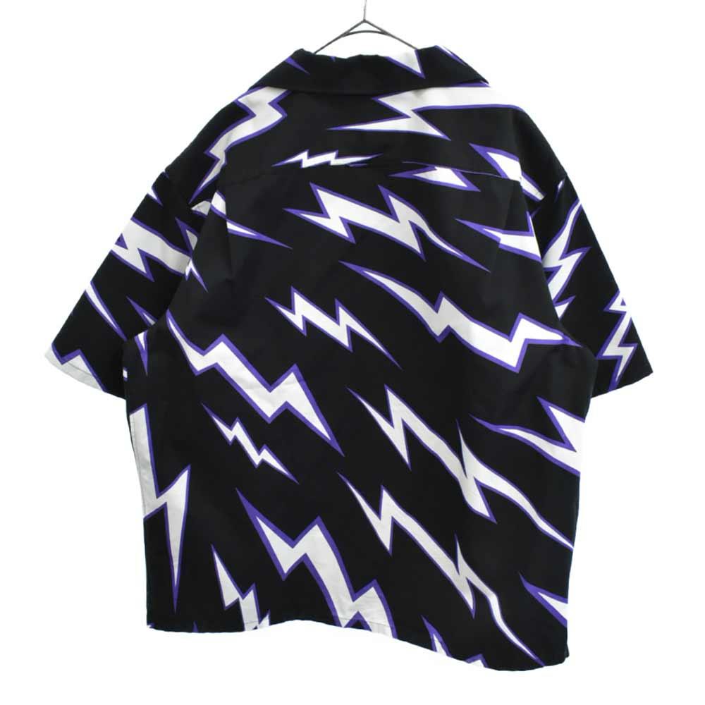 ×Frankenstein Printed Bowling Shirts UCS341 1U5A ×フランケンシュタイン サンダー総柄プリント半袖オープンカラーシャツ