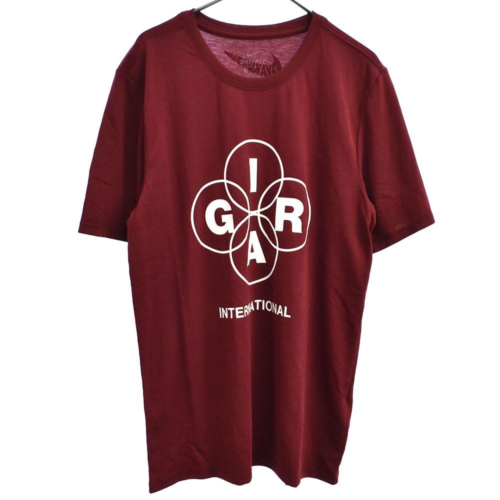 INTERNATIONALプリント半袖DRI-FITTシャツ ワインレッド