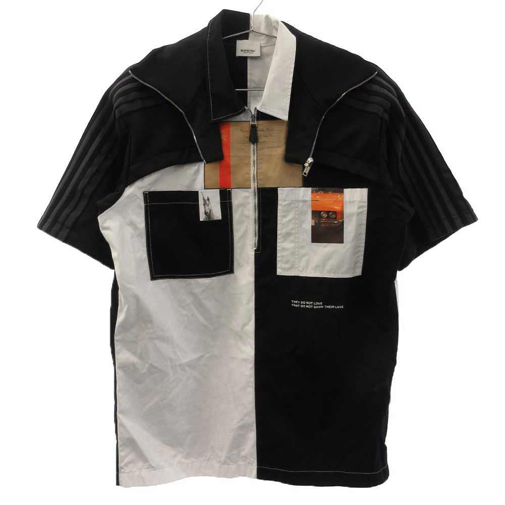 4558234 バイカラーレイヤード風ハーフジップ半袖シャツ
