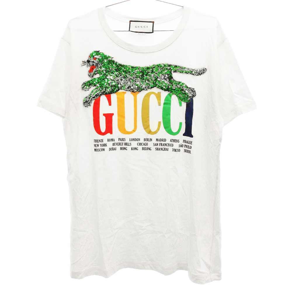 スパンコールタイガー ロゴプリント半袖Tシャツ オフホワイト
