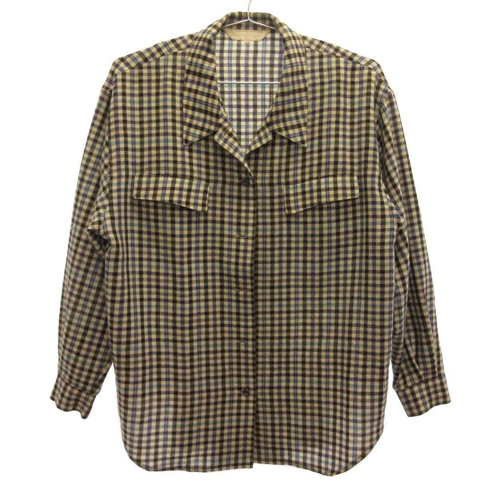 ウールチェックオープンカラー長袖シャツ
