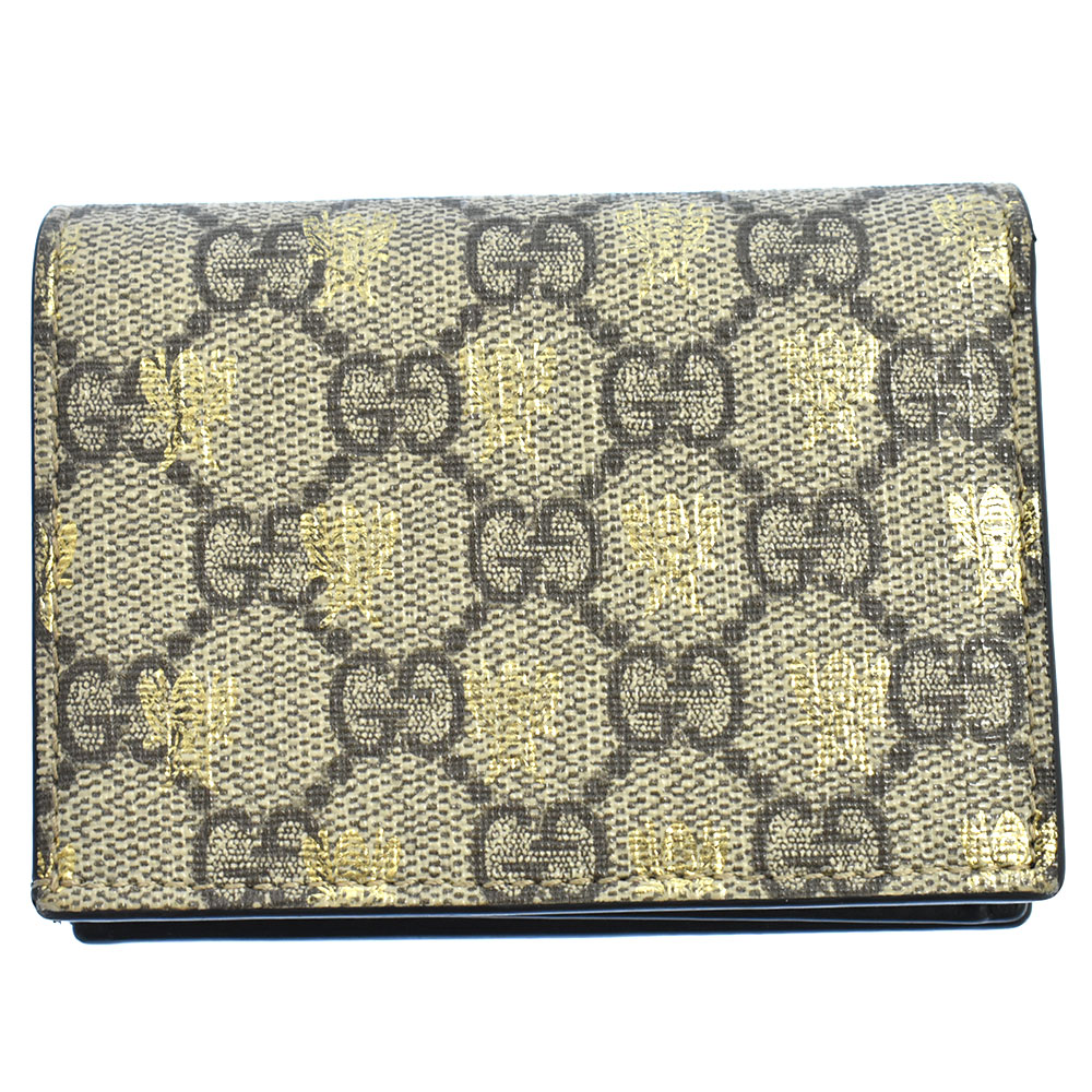 GGスプリーム BEEプリント二つ折り財布 カードケース
