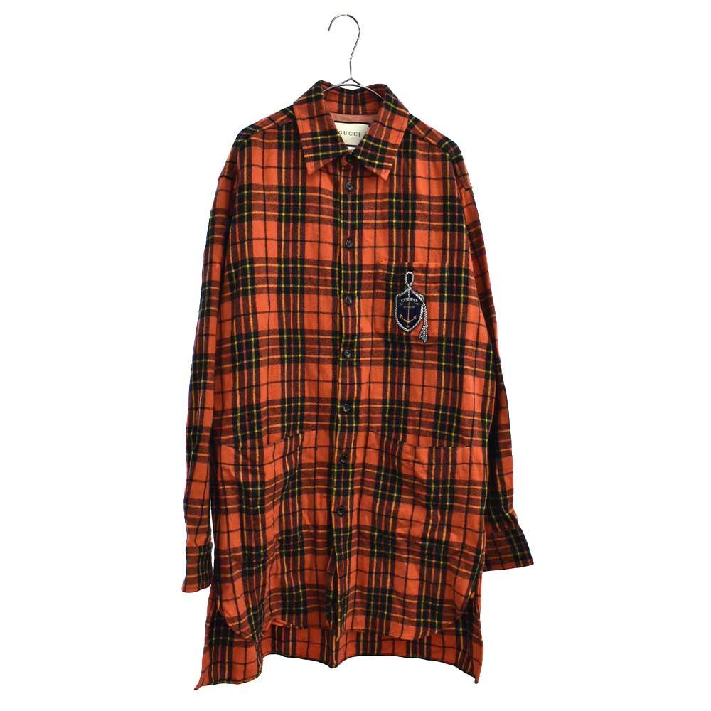 アンカーロゴワッペン チェック柄オーバーサイズ長袖シャツ