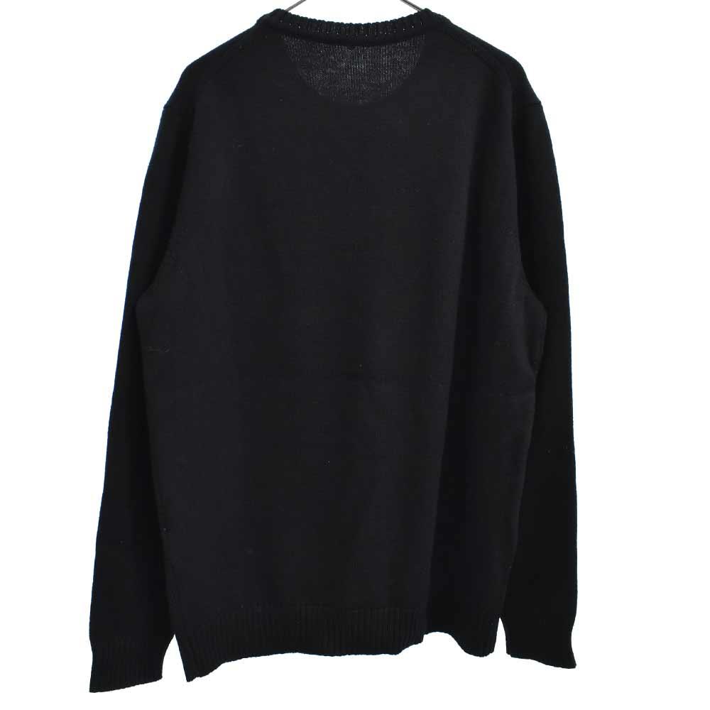 ロゴパッチコットンニットカットソー 長袖Tシャツ