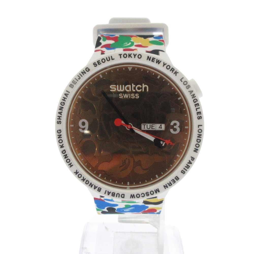 Bape swatch TOKYO WHITE MULTI CAMOカラー腕時計ウォッチ