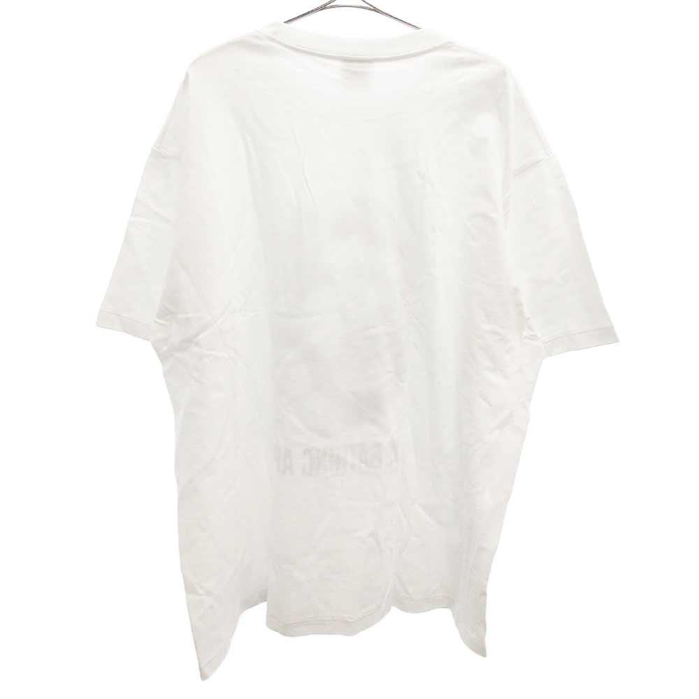 サル顔プリントクルーネック半袖Tシャツ