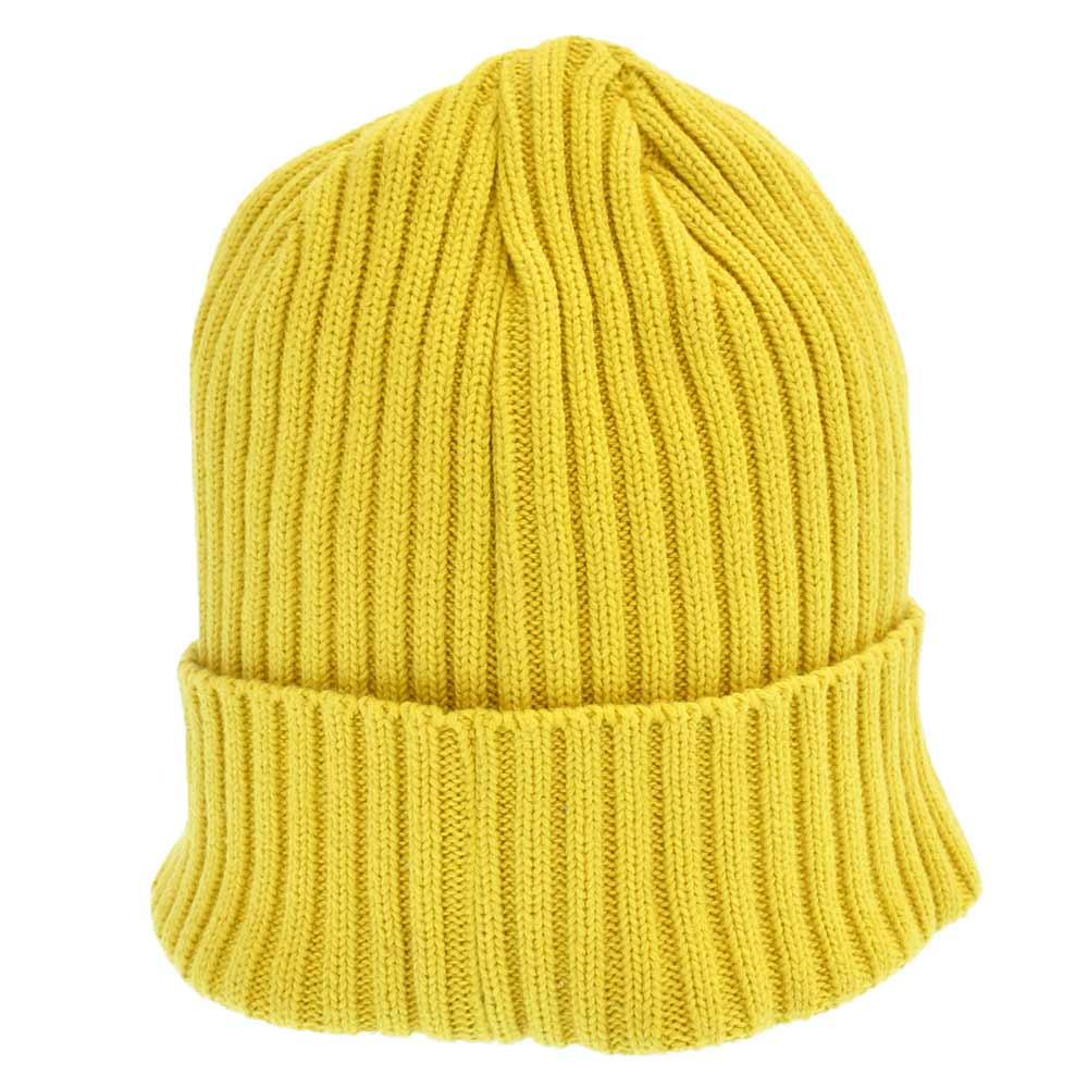 Overdyed Ribbed Small Box Logo Beanie Cap スモールボックスロゴビーニーイエロー 帽子