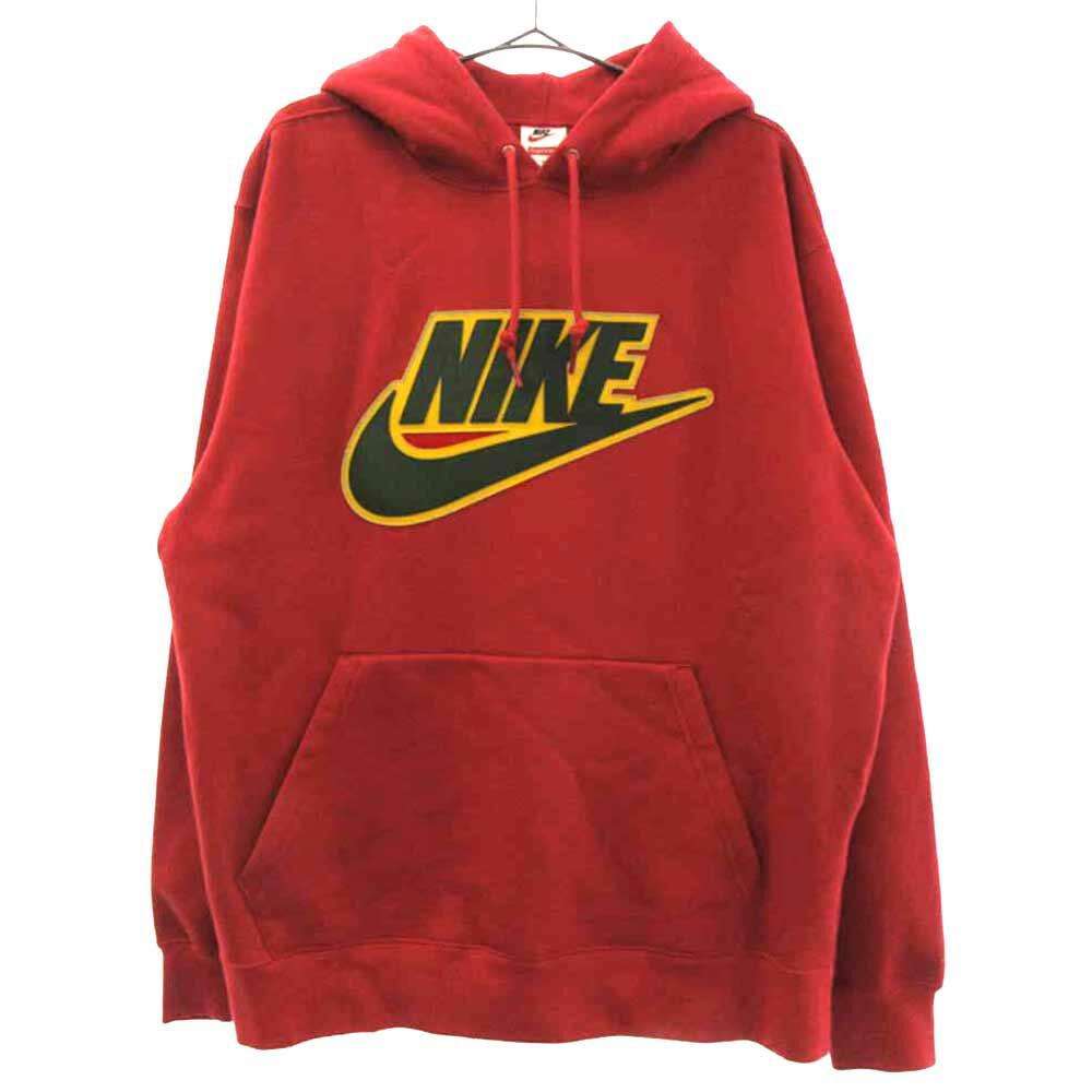 ×NIKE Leather Appliqu Hooded Sweatshirt レザースウォッシュプルオーバーパーカー ナイキ