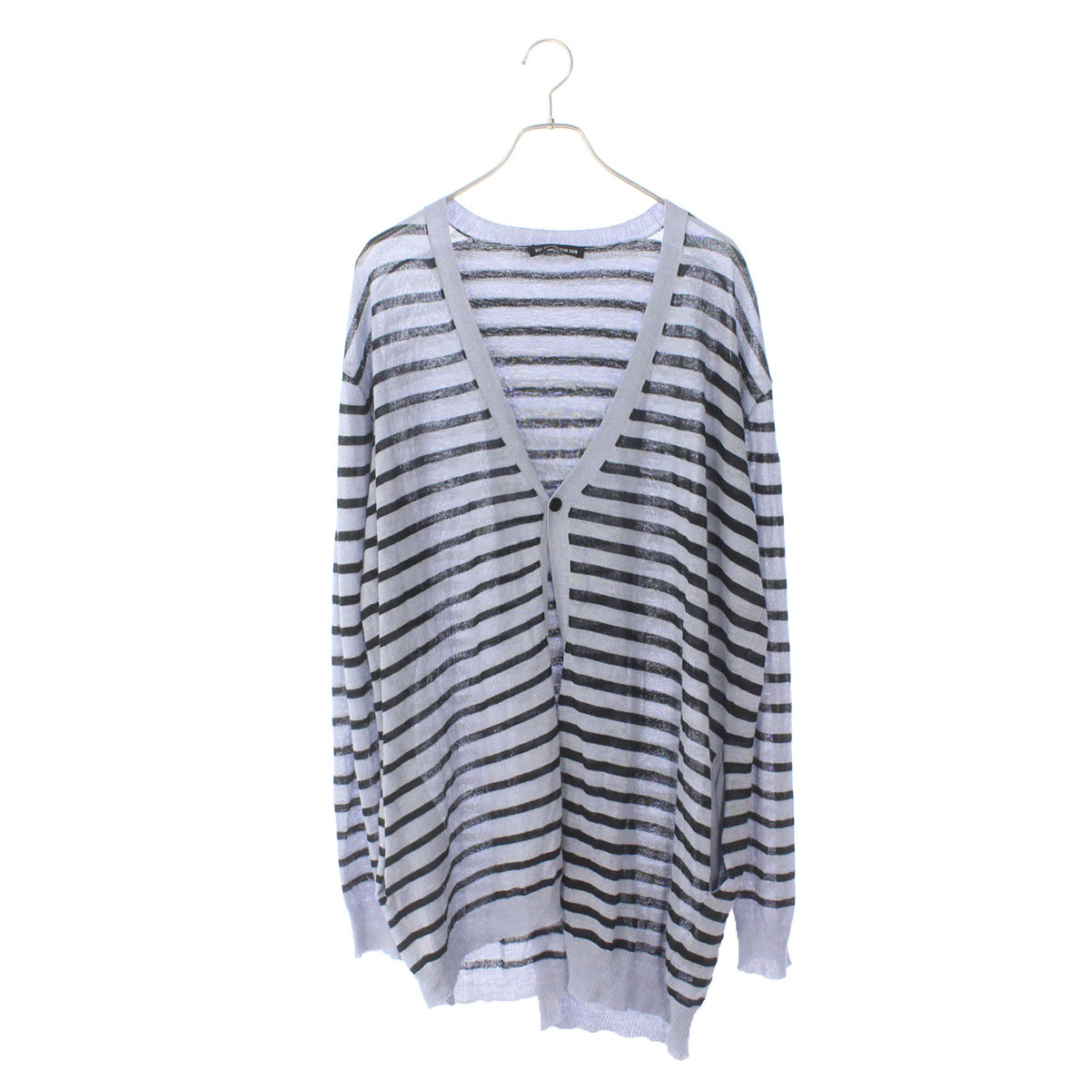 Over size lateral stripes knit cardigan