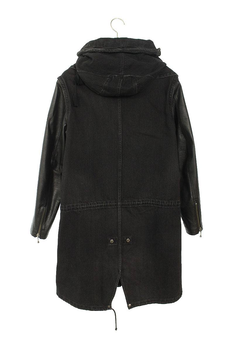 袖レザー切り替えフード付きデニムジャケット
