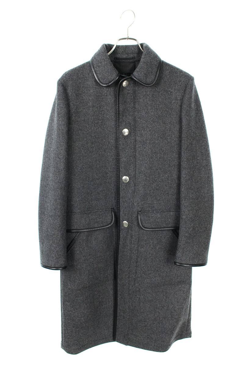 レザーパイピングロング丈コート