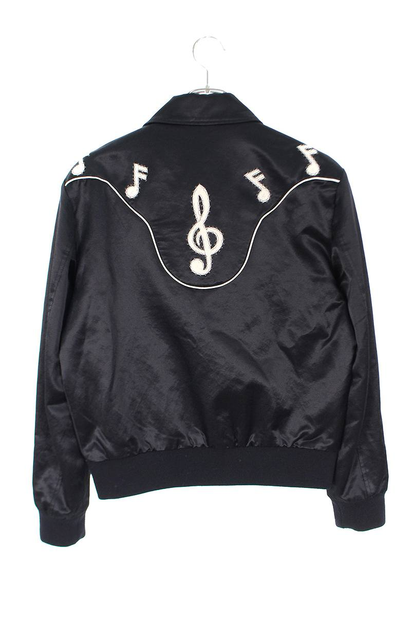 音符柄刺繍ジップアップジャケット