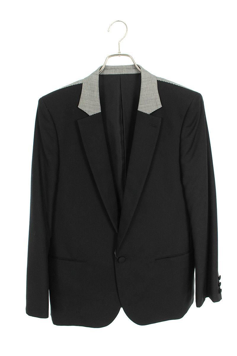 グレンチェックノッチドラペル1Bスクールジャケット