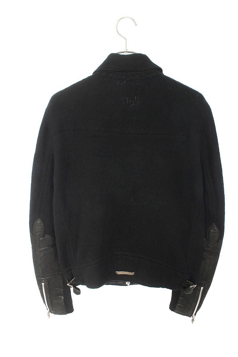 袖フレアニーレザーパッチカシミア混ダガージップジャケット