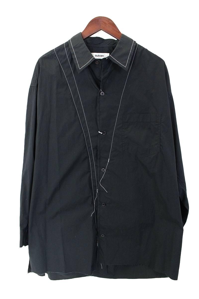 ステッチデザインオーバーサイズ長袖シャツ