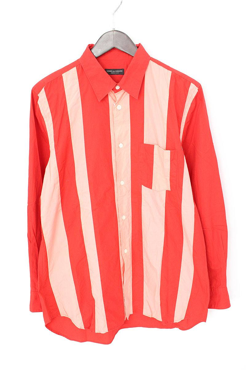 AD1995ストライプ生地切替長袖シャツ