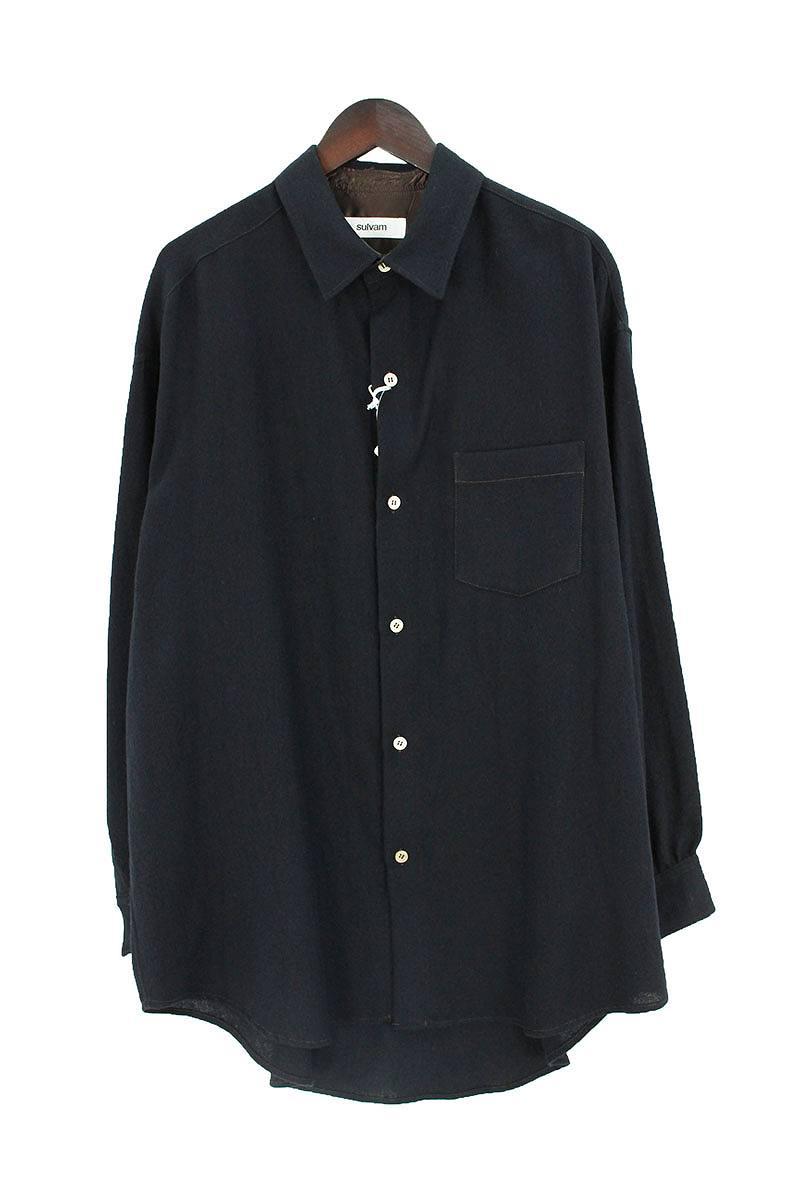 胸ポケットオーバーサイズロングスリーブウールシャツ