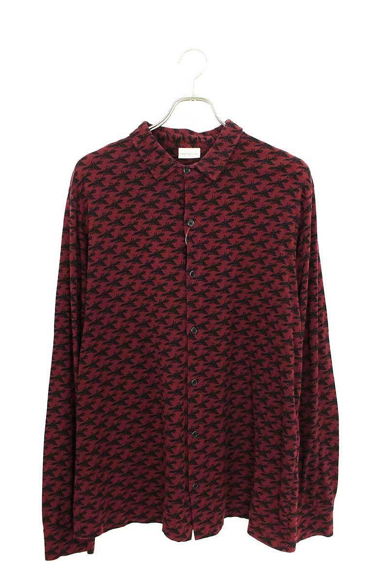 総柄ウール混長袖シャツ