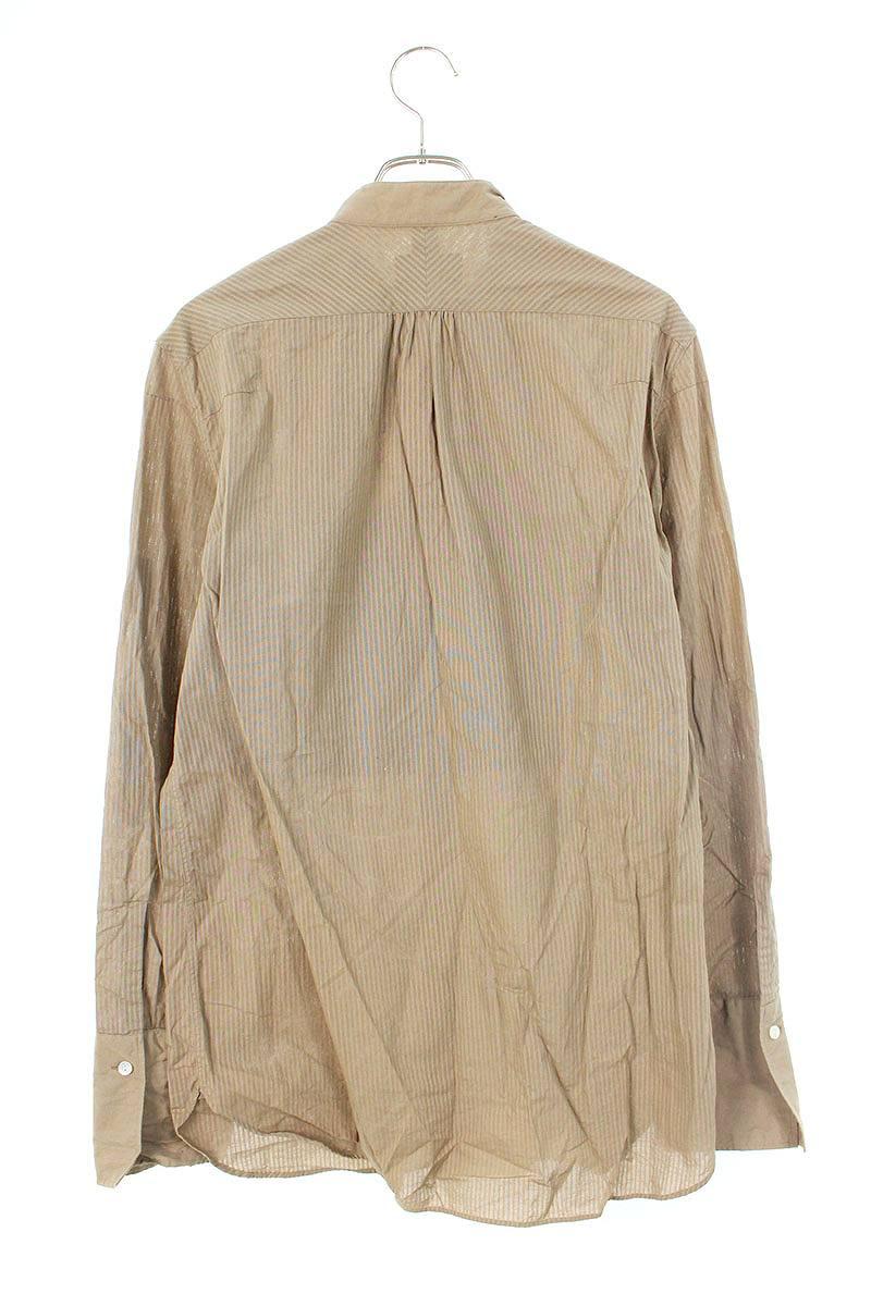 プリーツ スタンドカラー長袖シャツ