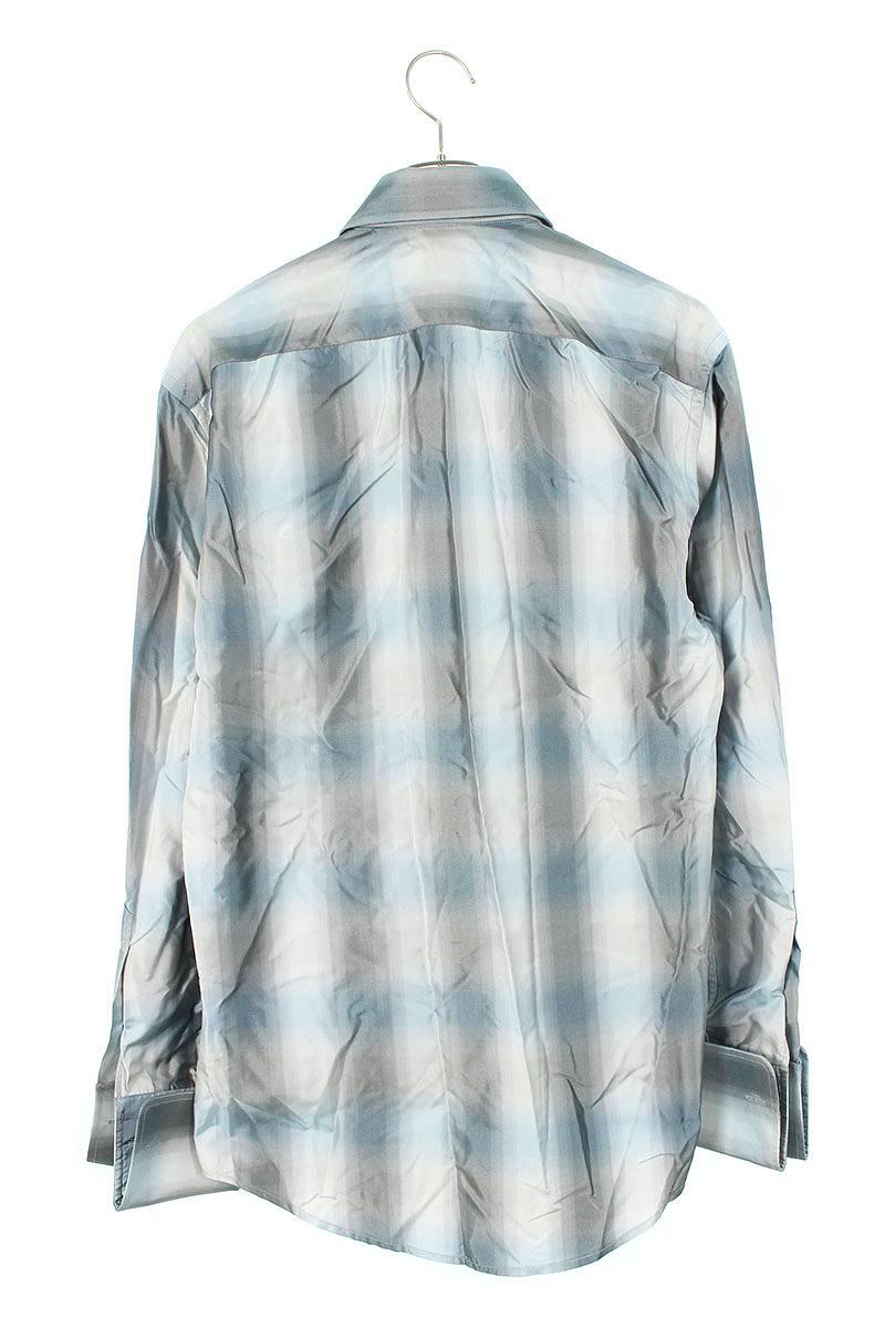シルクチェック長袖シャツ