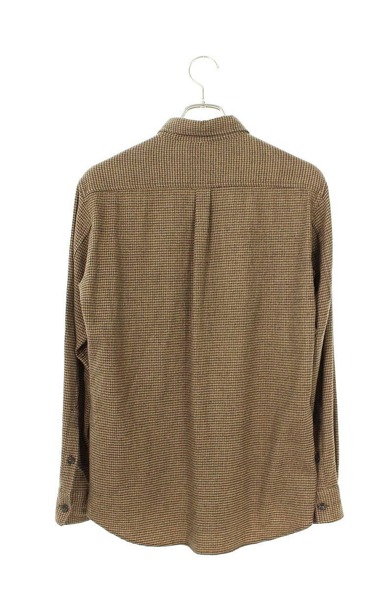 千鳥格子ウール長袖シャツ