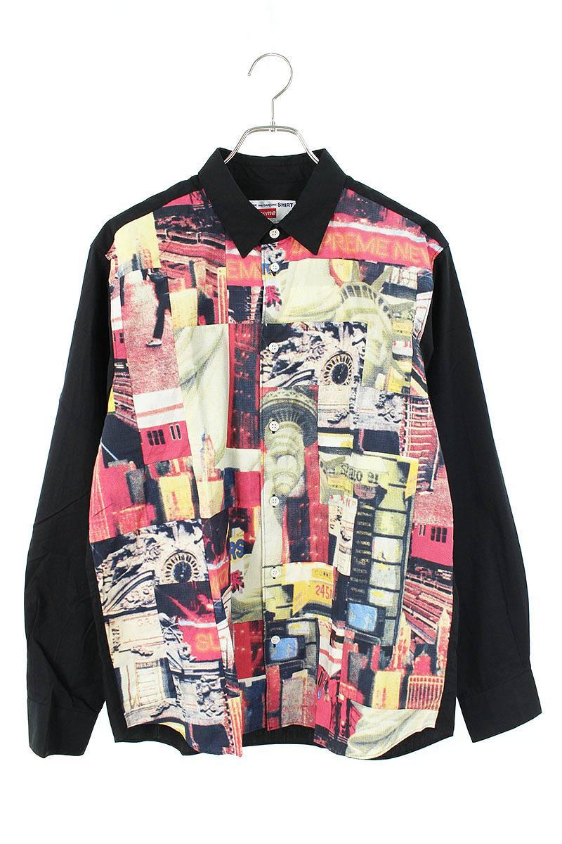 バックロゴフォトグラフィックパッチワークプリント長袖シャツ