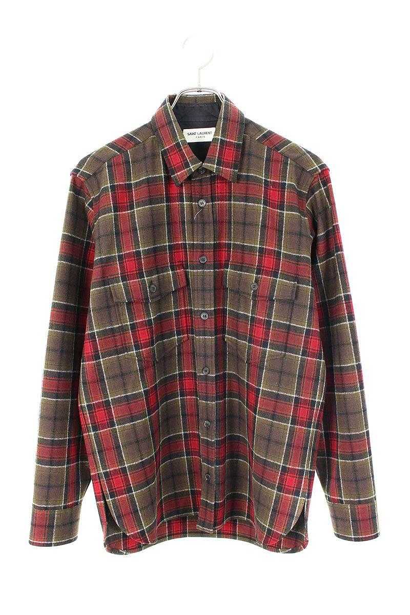 チェック柄ウール長袖シャツ