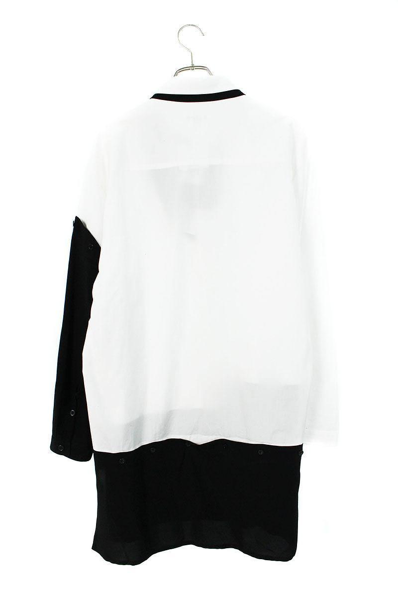 素材切替ロング長袖シャツ
