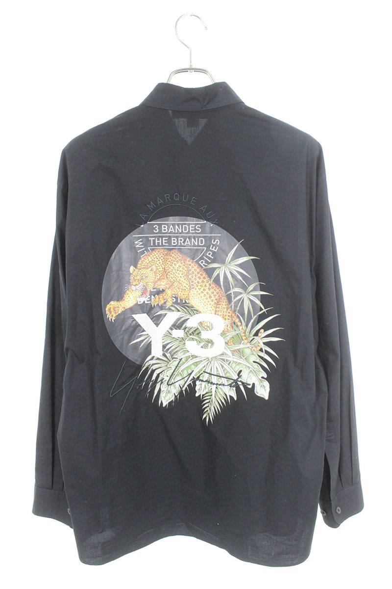 バックレオパード刺繍長袖シャツ