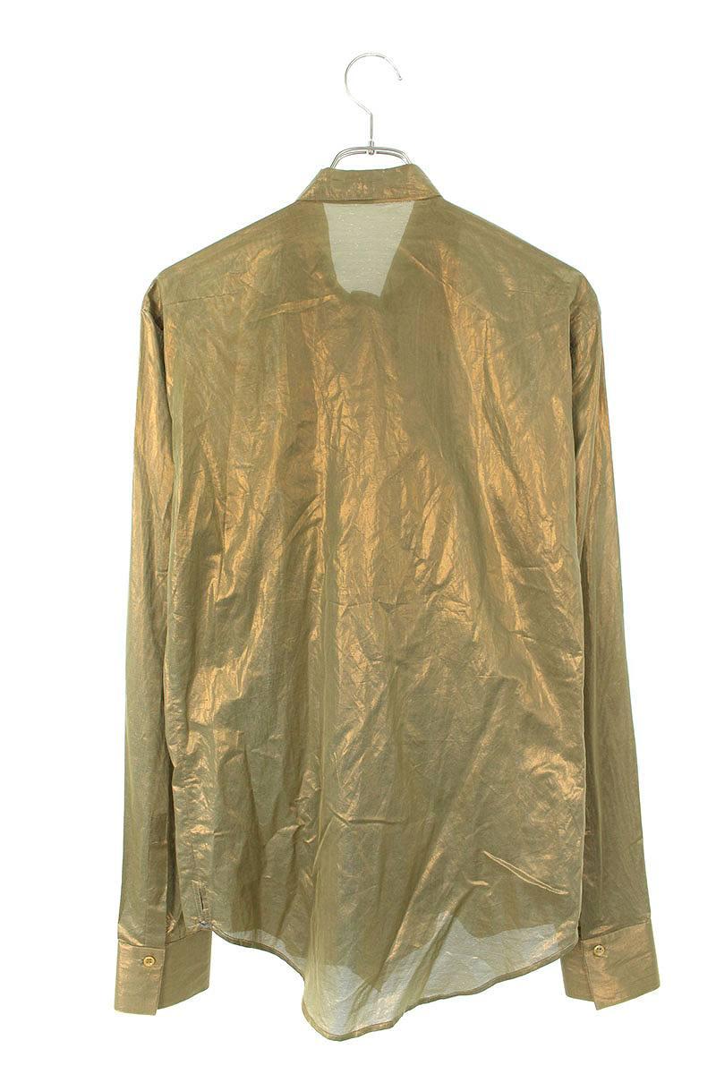 シルク混リボン長袖シャツ