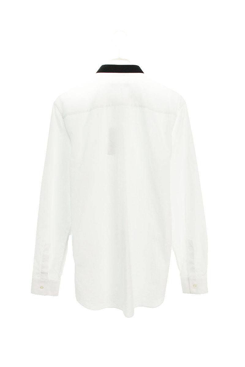 襟スター刺繍比翼ボタン長袖シャツ