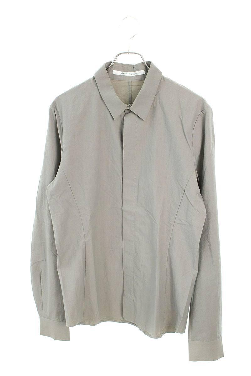 比翼ボタンプレーン長袖シャツ