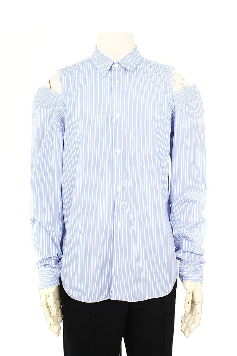 袖カットデザインストライプ長袖シャツ