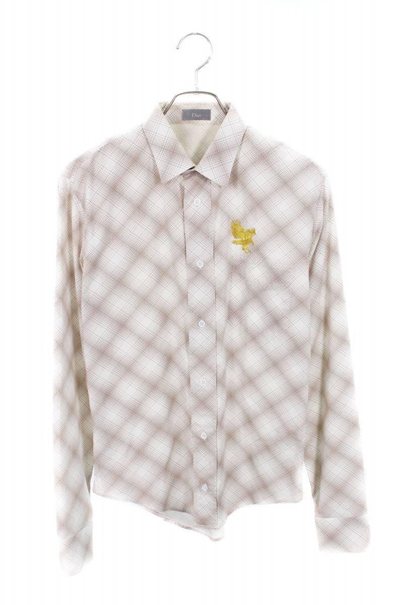 イーグル刺繍チェック長袖シャツ