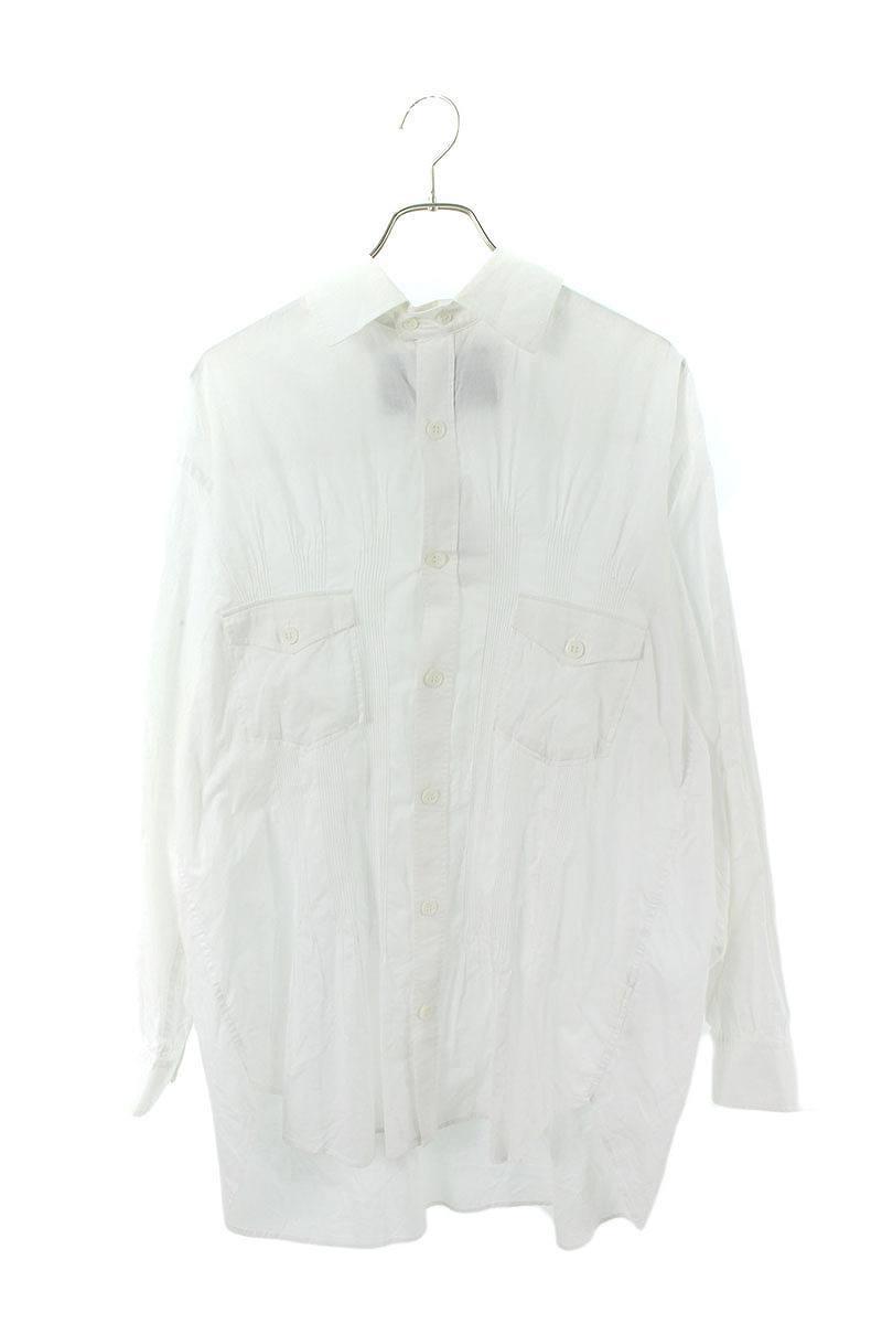 ラウンドカラープリーツロング長袖シャツ