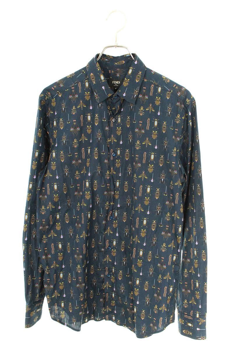 昆虫バグス総柄長袖シャツ