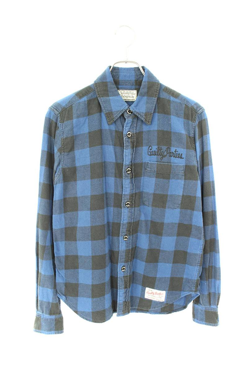 ブロックチェック長袖シャツ
