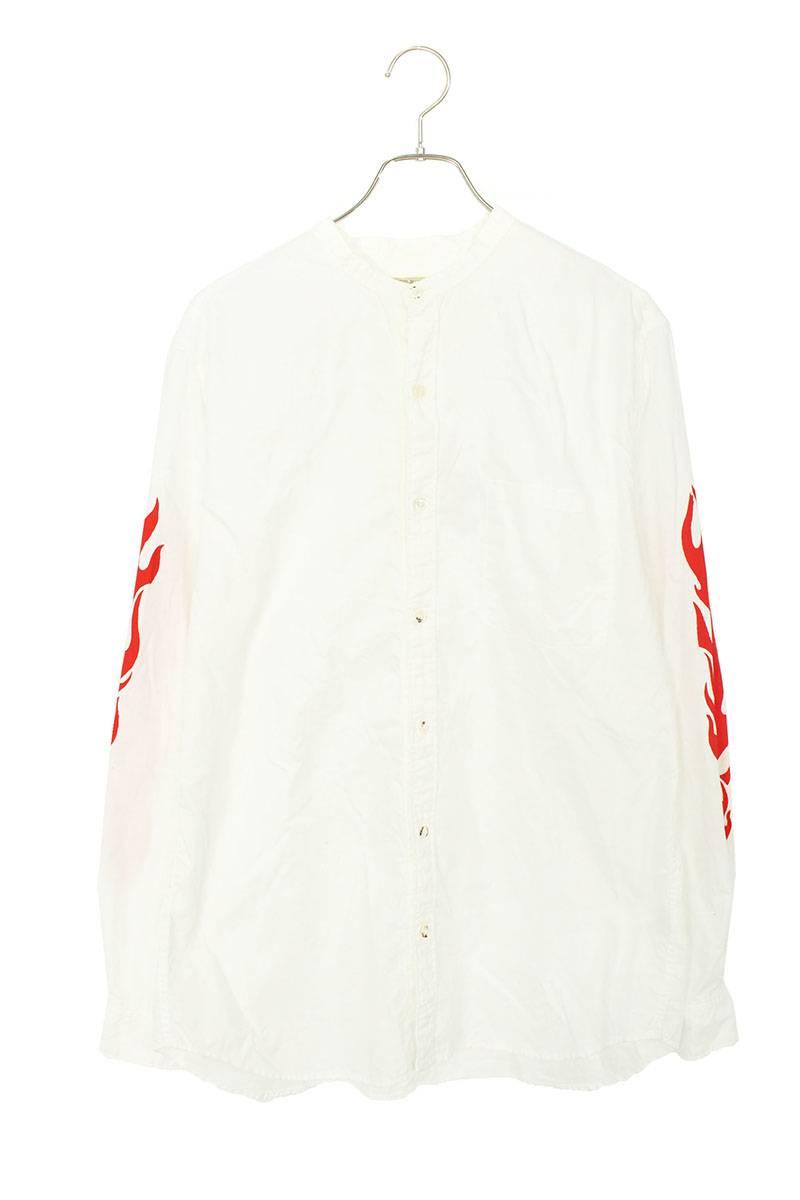 ノーカラーフレイムプリント長袖シャツ