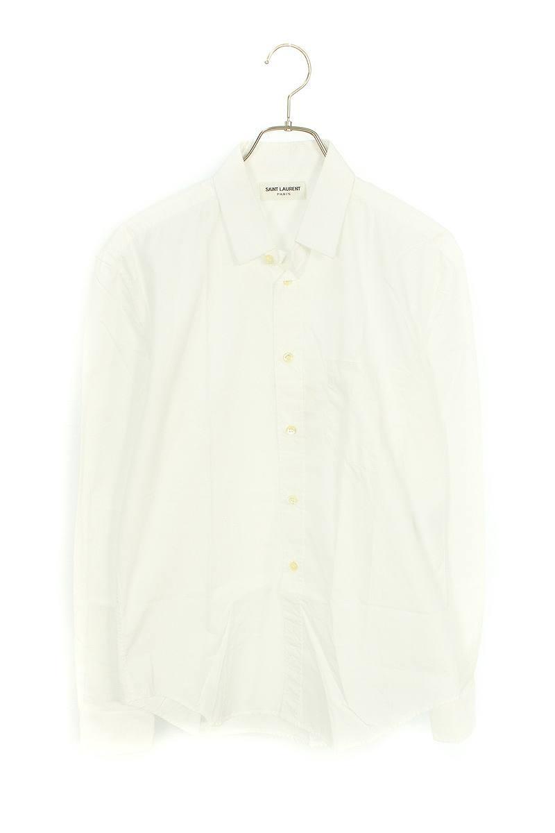 ダメージ加工胸ポケットコットン長袖シャツ