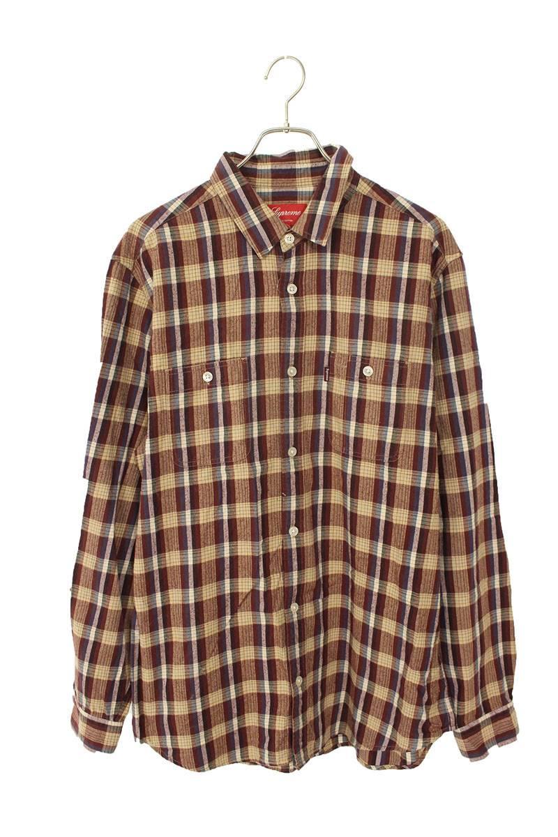 チェック柄ポケット長袖シャツ