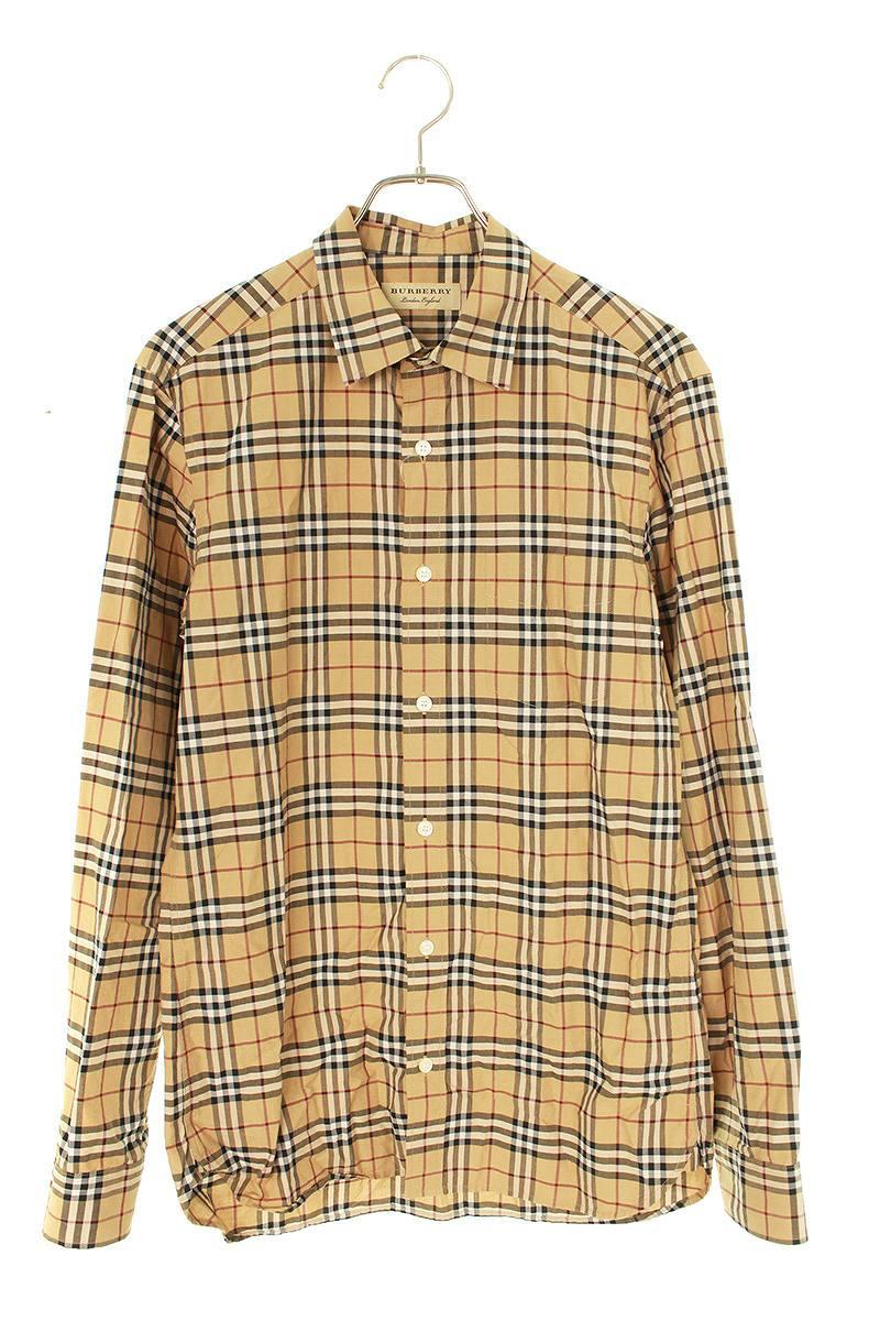 胸ポケットコットンチェック長袖シャツ