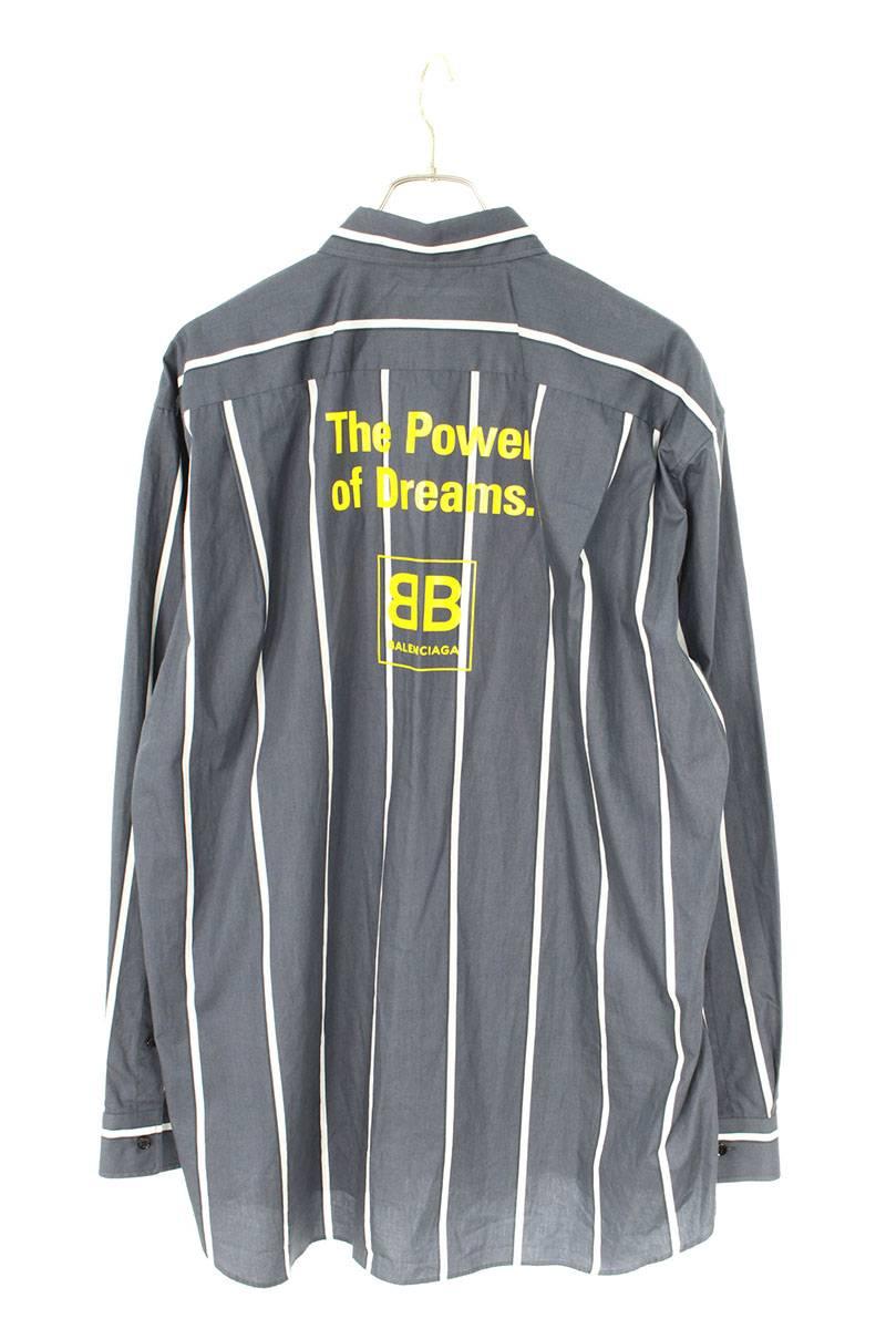 バックロゴストライプオーバーサイズ長袖シャツ