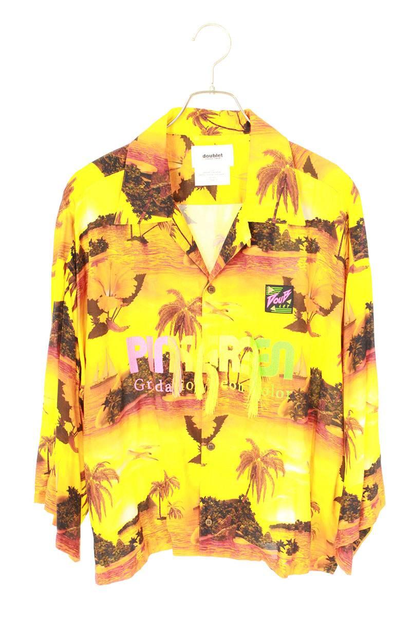 クロップドアロハ長袖シャツ