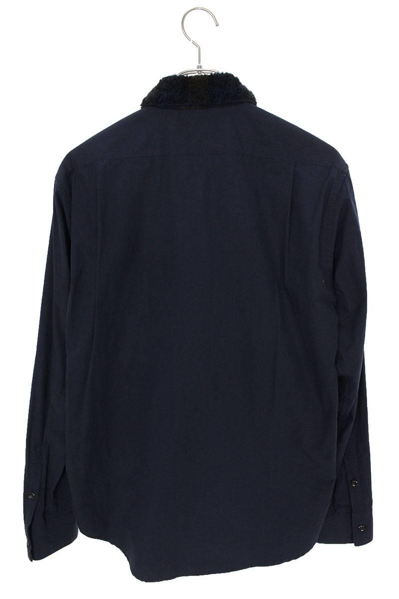 ウール切替コットンボアカラー長袖シャツ