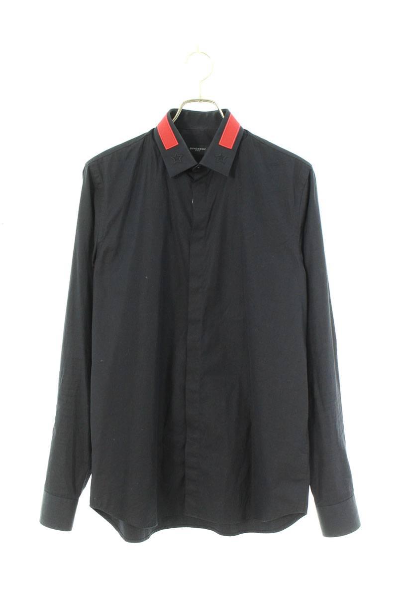スター刺繍比翼ボタン長袖シャツ