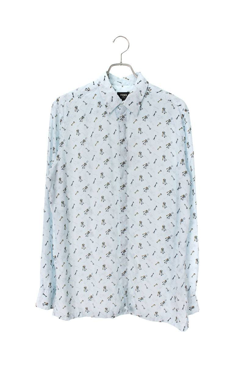 キー総柄長袖シャツ