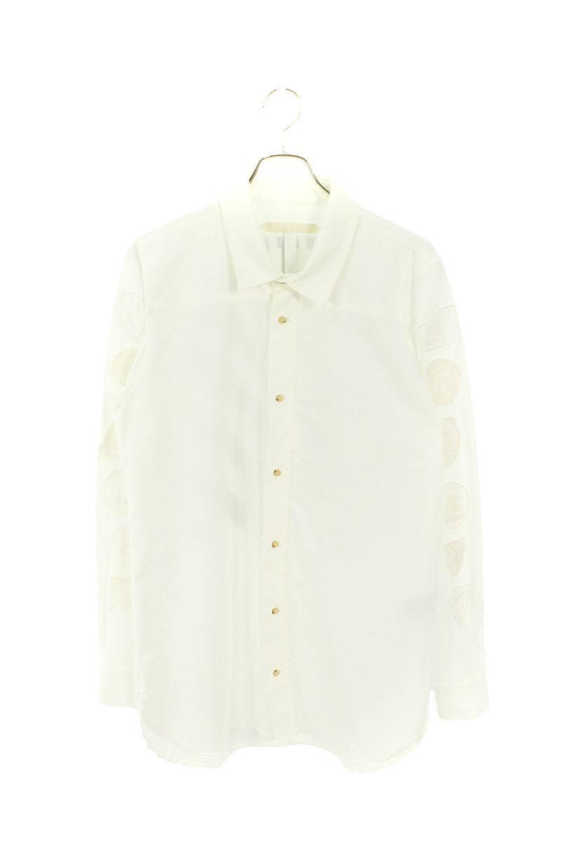 袖ワッペン装飾ミリタリー長袖シャツ