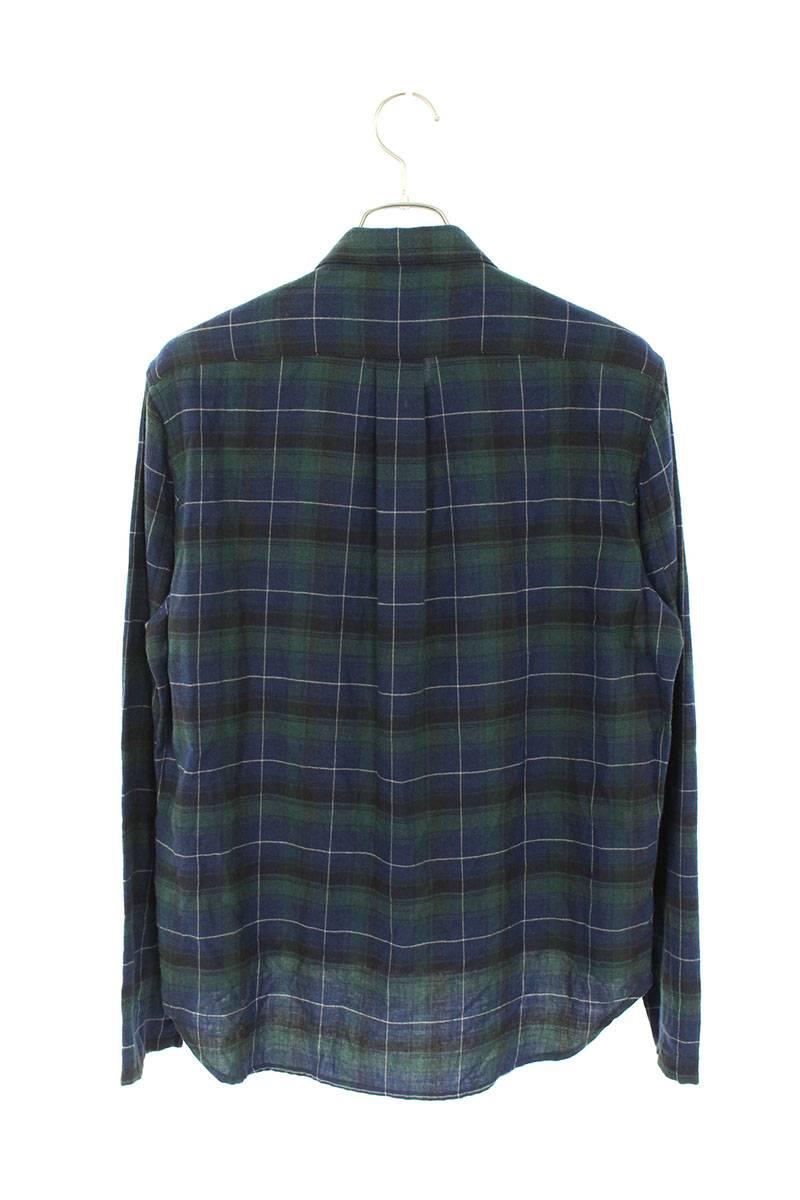 ダブルフェイスチェック柄ダガージップアップ長袖シャツ