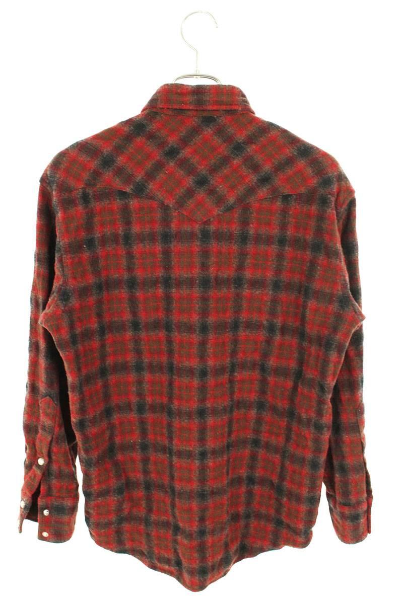 ウールチェック長袖シャツ
